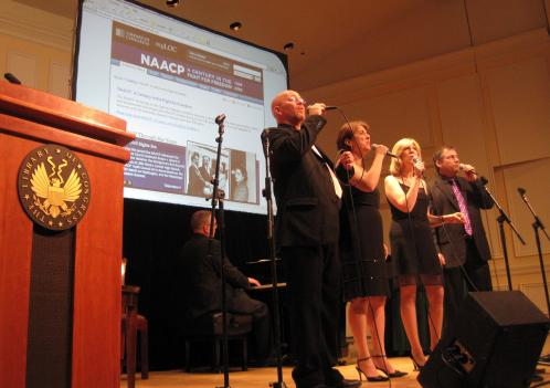 "Members of the Uptown Vocal Jazz Quartet sing Duke Ellington's 1932 hit, ""Sophisticated Lady,"" during the launch of an online exhibit at the Coolidge Auditorium on Capitol Hill."