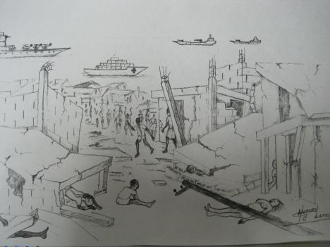 A patient, Hugues LaRose, drew this picture while recuperating from leg injuries on the Comfort. You can see the hospital ship and Aircraft Carrier in the background.  LaRose says the people with their hands up in the air are hailing/celebrating the arrival of international aid.