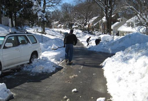Residents of this Montgomery County, Maryland neighborhood lost power this morning, so they all went out to the streets to shovel their driveways. Power outages are still hampering many area residents, especially in Montgomery and Anne Arundel Counties.