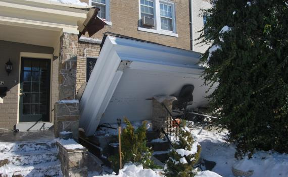 Part of the roof collapsed at this house in Southeast D.C.