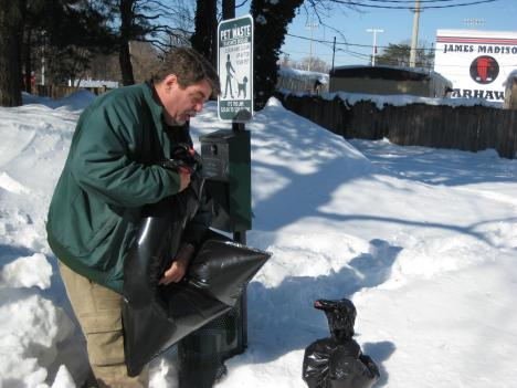 Mark Burnett of Doody Calls in Fairfax, VA urges pet owners to scoop the poop off the snow.