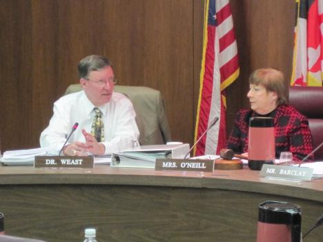 County schools Superintendent Dr. Jerry Weast (left) during the board of education meeting. Board president Patricia O'Neill is on the right.