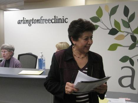 Volunteer Marietha Mayen is one of the first faces patients at the Arlington Free Clinic see.