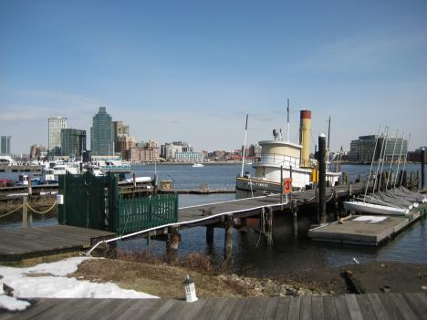 Baltimore's Inner Harbor, now a tourist destination, used to house oyster canneries that have since disappeared in part because of Chesapeake Bay pollution.