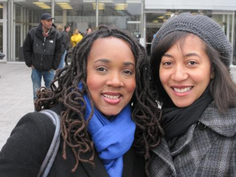 Aisha Mills and Danielle Moodie were among the couples to apply for a marriage license today. They met at an Adams Morgan restaurant six years ago.