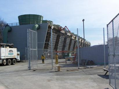 Cooling units at the Vermont Yankee power station. Radioactive tritium (an isotope of hydrogen) has leaked into the ground near the center of the plant.