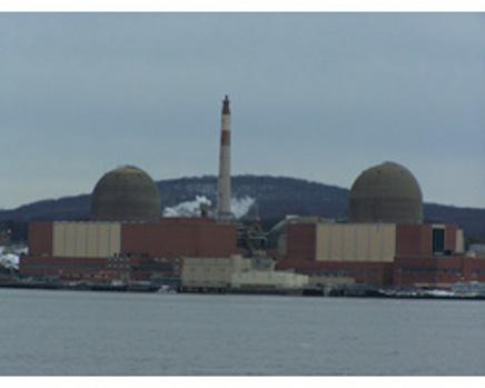 Indian Point Nuclear Station, as seen from the opposite side of the Hudson River. A spent fuel and other systems have leaked tritium and other radionuclides into the groundwater below.