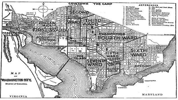 Map of Washington as the city appeared in 1877 when the Post was founded. Note the old nicknames for various portions of the city.