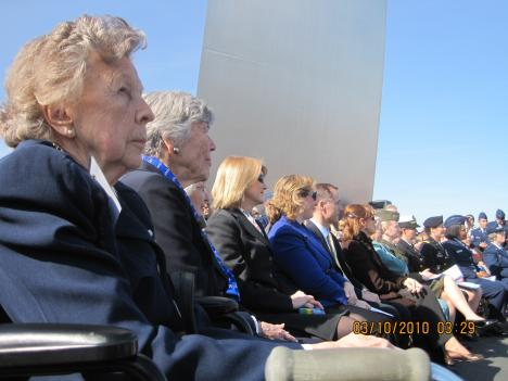 WASP members honor fallen aviators during memorial ceremony at the Air Force Memorial in Arlington, VA.