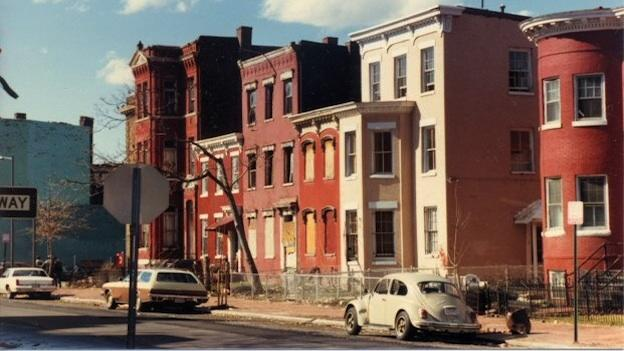 O Street around 10th from the mid-80s, as capture by Hal Davitt.