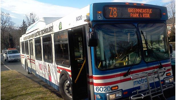 The Metrobus on the Z8 line that was involved in an accident  in Silver Spring Wednesday morning.