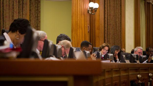 The D.C. Council, shown here at the dais earlier this year, couldn't reach an agreement on a surplus spending proposal May 1.