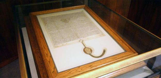 A 1297 copy of the Magna Carta purchased by the Australian Government.