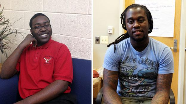 Christopher Feaster, left, and Travaris Chambers are both on track to graduate in May despite having faced numerous challenges over the years.