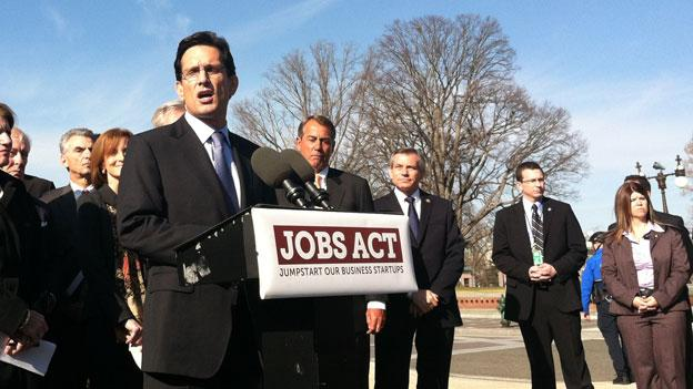 Rep. Eric Cantor (R-Va.) introduces his JOBS Act Feb. 28 on Capitol Hill.