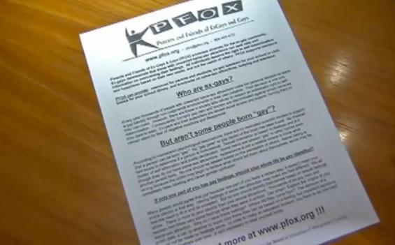 One of the flyers sent to the homes of students by the Parents and Friends of ExGays and Gays.