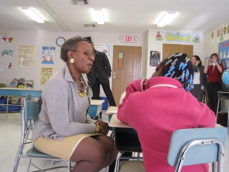 Jessie Wells tutors - and exercises her brain - at an elementary school in Baltimore.