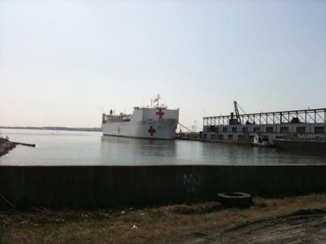 The U.S. Navy Hospital Ship Comfort Returns to the Baltimore Harbor after a stint in Haiti.