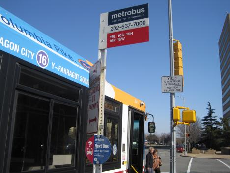 The 16 bus line travels a popular route in South Arlington near the Pentagon. Metro is considering scaling back the 16 as a part of its laundry list of budget cutbacks.