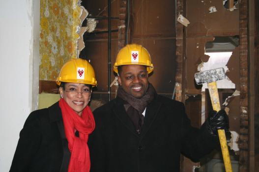 My Sister's Place Executive Director Lauren Vaughan and D.C. At-Large Council Member Kwame Brown help break ground for MSP's new renovations.