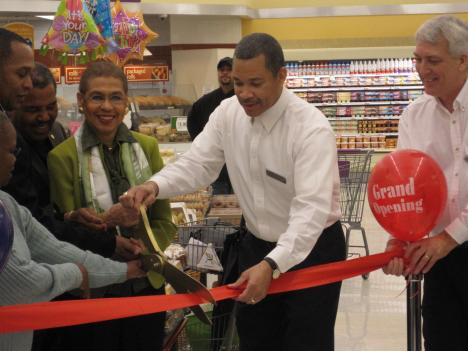 Eleanor Holmes Norton joined Giant store Manager Wendell Moore for the grand re-opening of the store in D.C. Brentwood neighborhood.