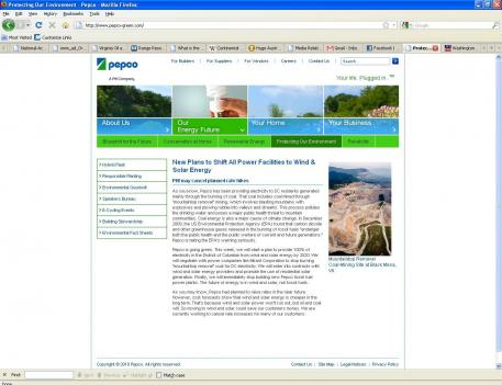 A fake website announced that Pepco would convert 100 percent of its electricity to renewable sources within 10 years.