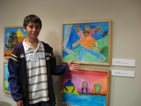"Emilio Monzon's work is on view at the Phillips Collection, as a companion exhibit with Jacob Lawrence's ""Migration Series.  Monzon is a sixth grader at Oyster Adams Bilingual School in northwest D.C."