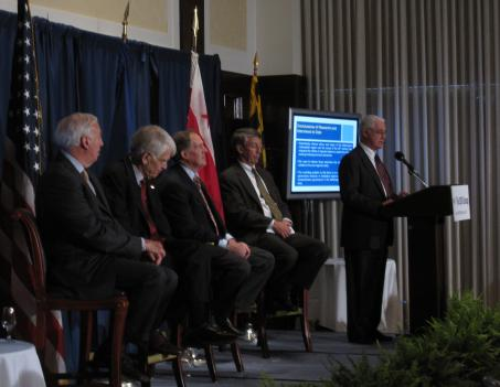 Jacques Gansler with the University of Maryland, far right, speaks during the announcement of the new organization, the 2030 Group. Educational leaders from George Mason University and the University of Maryland joined the group's President, Robert Buchanan, third from right.
