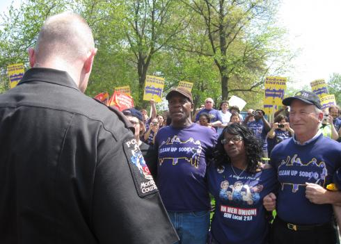 Actor Danny Glover (left) and SEIU president Andy Stern (right) were arrested in front of the headquarters of the food-service company Sodexho in Gaithersburg, Maryland.