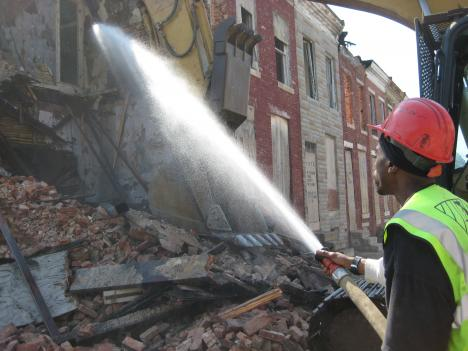 Sixty-seven vacant rowhouses on Perlman Place in northeast Baltimore were demolished by the city citing safety and health concerns.