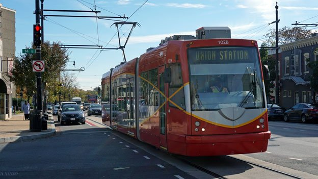 A streetcar makes a test run in the fall of 2015.