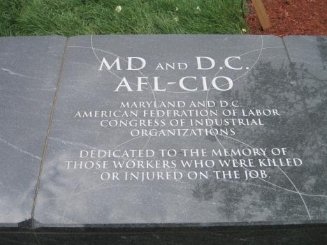 The engraving honors Washington region union workers killed in job-related accidents.