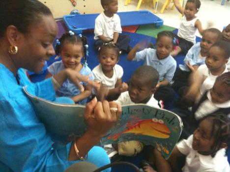 Juanita Stokes reads to her Pre-K class at Payne Elementary School in Southeast D.C.