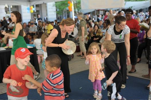 Robyne Stone-Davis (pictured with tambourine) says dance/movement therapy can help young children express feelings.