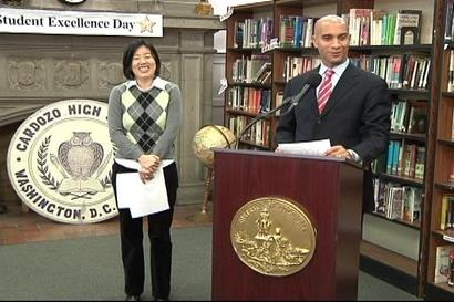 DC Mayor Adrian Fenty and Schools Chancellor Michelle Rhee reorganized the city budget to cover teacher's raises.