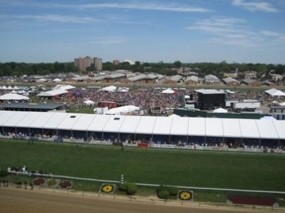Preakness Stakes has two decidedly different crowds: Those in the stands and the ones here on in the infield, celebrating Infield Fest. The younger, more casual crowd took in concerts, played bar games and spent $20 for a mug that allowed them to drink all they could consume.