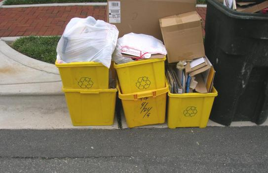 The city of Alexandria is considering using recycling bins with implanted computer chips to record the bins' location and use.