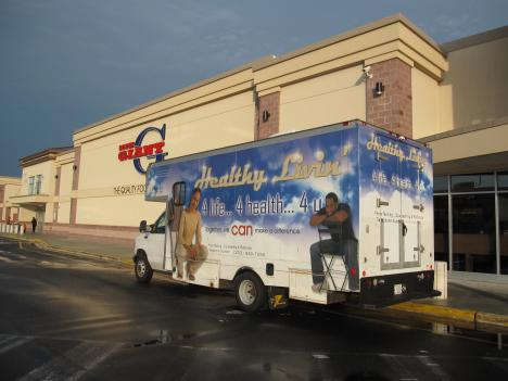 The Whitman-Walker Clinic's testing van parks in front of the Giant grocery story on Alabama Ave S.E. for those interested in getting free HIV tests.
