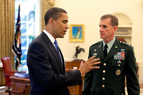 President Barack Obama meets with Lt. Gen. Stanley A. McChrystal, the new U.S. Commander for Afghanistan, in the Oval Office Tuesday, May 19, 2009.