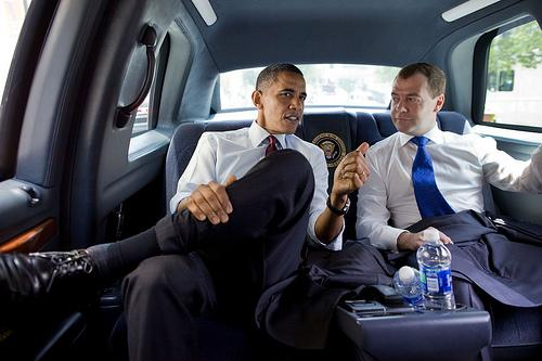 President Barack Obama and President Dmitry Medvedev of Russia ride together for lunch at Ray's Hell Burger in Arlington, Va.