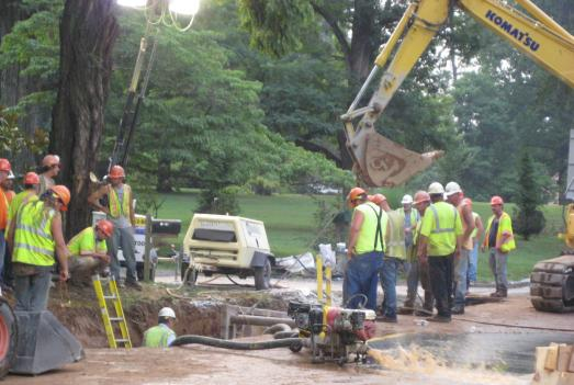 Crews are replacing sections of a broken water main in Potomac, Md.