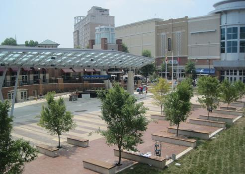 The area under the canopy at the new Veterans Plaza in Silver Spring will become a skating rink during the winter months.