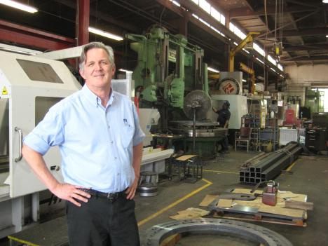 Terry Sims runs Chesapeake Machine Company in Baltimore, a shop that makes everything from submarine tail cones to solar panel factory parts.