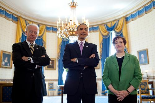 President Barack Obama, Vice President Joe Biden and Solicitor General Elena Kagan wait in the Blue Room of the White House, May 10, 2010, prior to the President's announcement of Kagan as his choice to replace retiring Justice John Paul Stevens in the Supreme Court.
