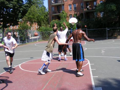 A group of friends persisted with their weekly basketball game in northwest, D.C. But D.C. officials suggested sports fans stay inside.