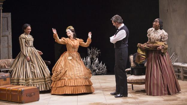 (L-R) Sameerah Luqmaan-Harris as Elizabeth Keckly, Naomi Jacobson as Mary Todd Lincoln, Thomas Adrian Simpson as Abraham Lincoln and Joy Jones as Ivy in Arena Stage at the Mead Center for American Theater's production of Mary T. & Lizzy K.