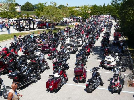 The beams of steel were escorted from New York City by more than 500 motorcycles and support vehicles.
