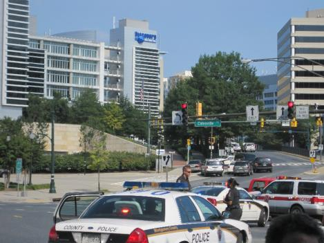 Dozens of officers responded to the scene of a hostage crisis at the Discovery Channel headquarters in Silver Spring.