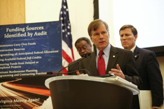 Governor Bob McDonnell today announced the findings of the independent VDOT audit he commissioned earlier this year.  The audit has identified more than $1.4 billion that can be used to ease congestion and get projects built.