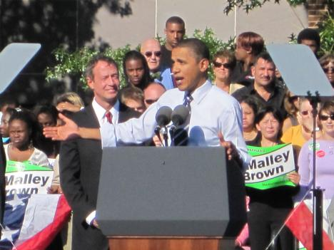 Maryland Gov. Martin O'Malley (left) looks on as President Obama attempts to ignite Democratic voter support.
